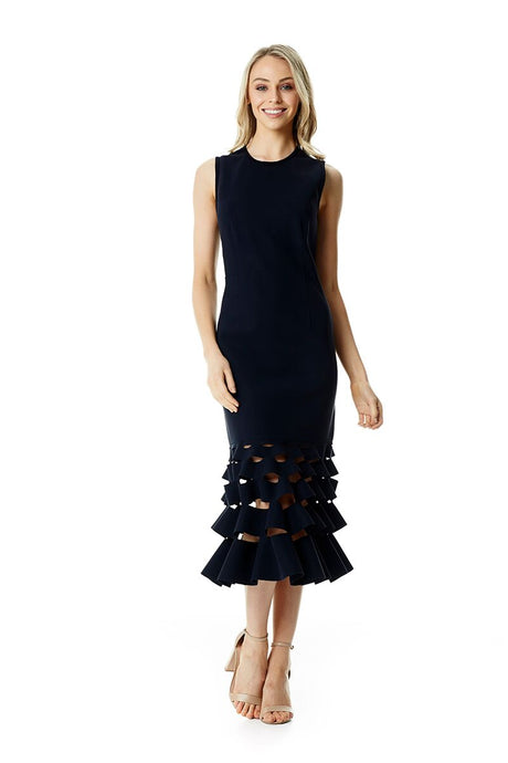 SLASH RUFFLE SHIFT DRESS - Navy