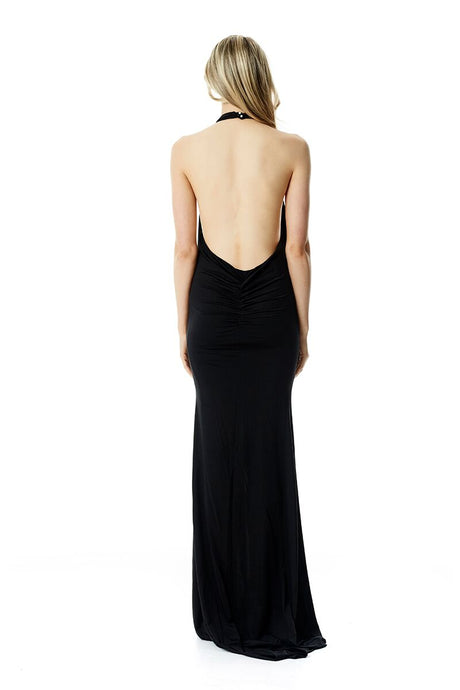 High neck Gown - Black