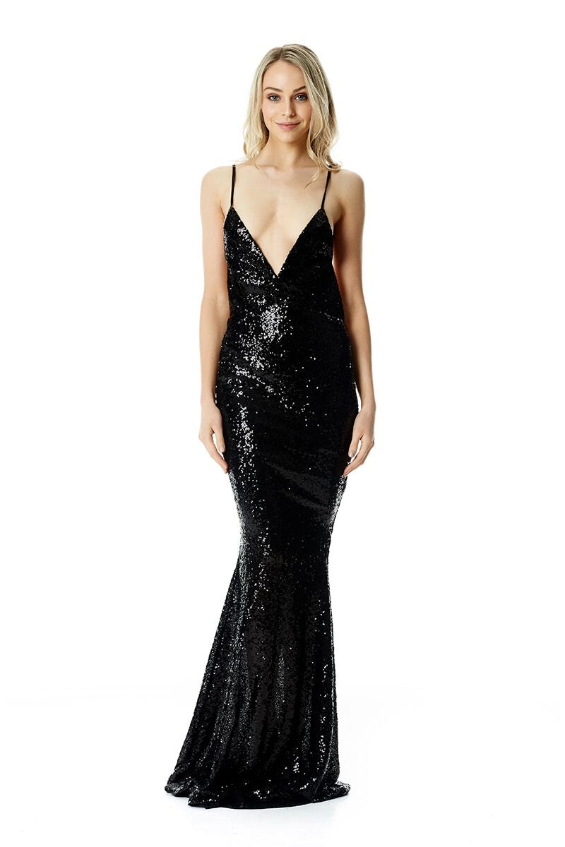Yassmine Mermaid Gown - Black