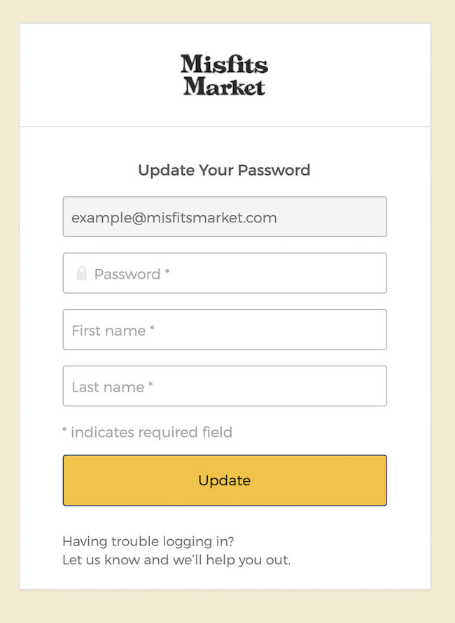 Screenshot of the registration page to enter your account email, new password, first name, and last name