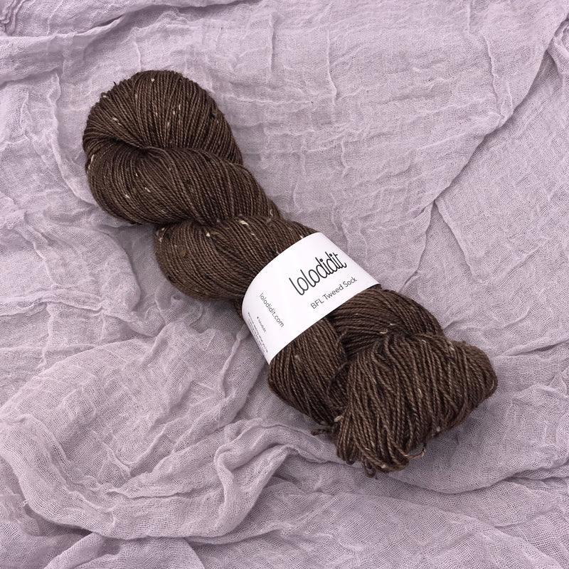 Brown Eyed Girl - BFL Tweed Sock - Tonal