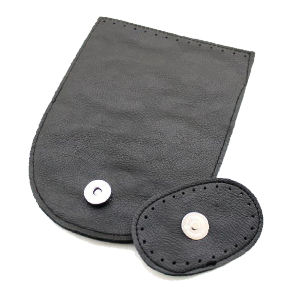 Vegan Leather Black Bag Flap with Magnetic Button