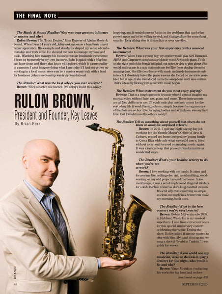 Rulon Brown Interview - Music & Sound Retailer September 2020