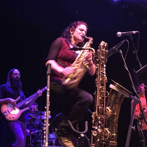 Jessica Lurie playing with Zion80 Jewish Afro Funk band. Jessica fixes sticky saxophone keys using Key Leaves products