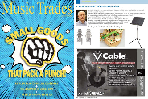 Music Trades magazine June 2019 recommends Key Leaves sax care products to stop sticking sax pads and fix sticky G#, Eb and C# keys.