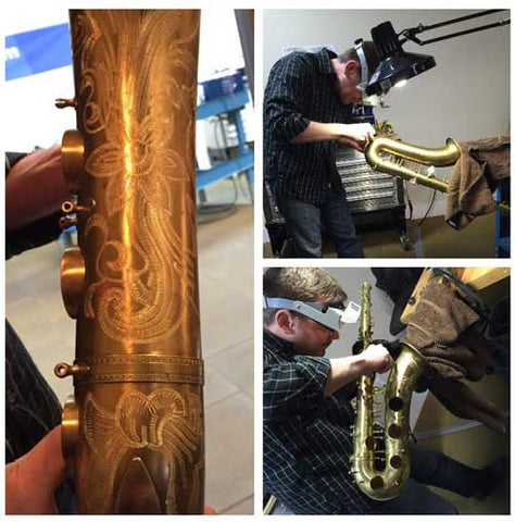 Repair Tech Ryan Walker working on vintage saxophones