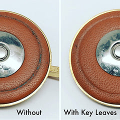 Eb sax pad comparison without and with Key Leaves products