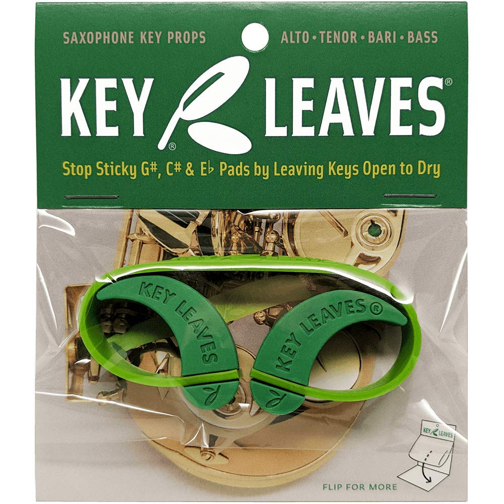 Key Leaves saxophone key props are the best way to prevent and fix sticky sax pads and keep pad leather cleaner. The green leaf shape props open key arms to air dry the pad leather and prevent sticking to the tone hole and key malfunction.