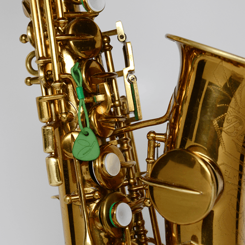 Key Leaves for vintage soprano sax cure sticky G sharp key and prevent pad rot. Shown here on a Buescher curved soprano sax.