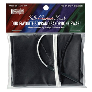 Hodge silk swab for soprano saxophone that pulls all the way through even the smallest soprano saxophone