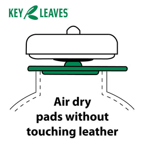Key Leaves saxophone care products work without ever touching pad leather. The soprano sax care product touches the pad resonator and tone hole to safely air dry the pad leather and prevent sticking keys.