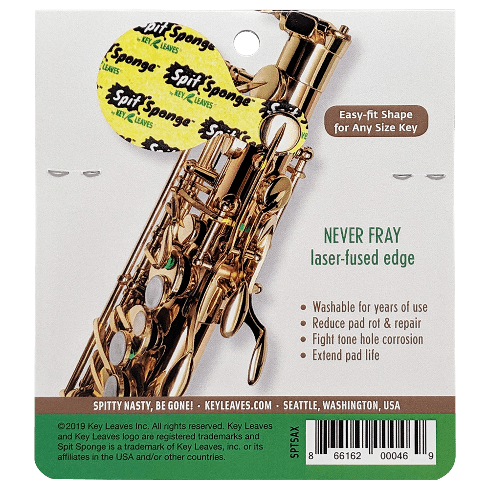 Spit Sponge™ sax size pad dryer shown on the top palm keys of a saxophone. It protects saxophone pads by drying pad leather rot and tone holes so the sax is cleaner and drier. The top is soft and super absorbent and the bottom is laser textured to grab and remove sticky grime on the sax.