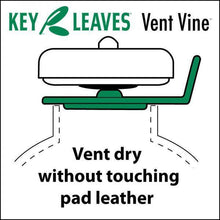 Side-view illustration of a Key Leaves Vent Vine™ opening sax pads to dry clean without touching leather