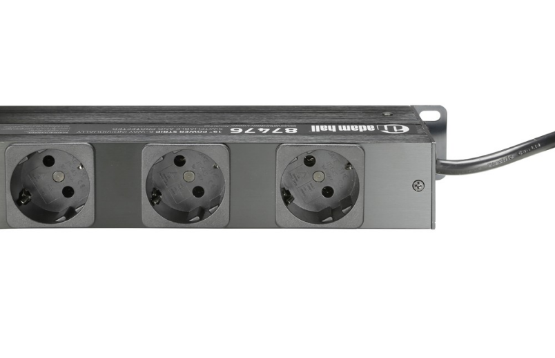 "Adam Hall   19"" Power strip 6-way, individually SwitchableAndprotected"