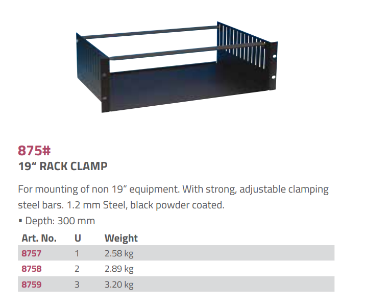 "Adam Hall Hardware  19"" Rack Clamp 4 U"