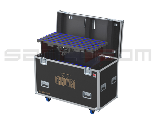 Santosom Flight Case Blind PRO 21x Chauvet Epix Strip Tour + Clamp