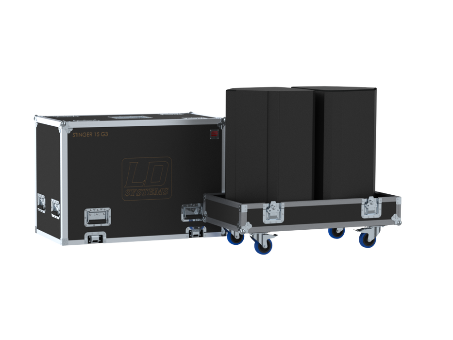 Santosom Cabinet  Flight Case, 2x LD Systems Stinger 15 G3