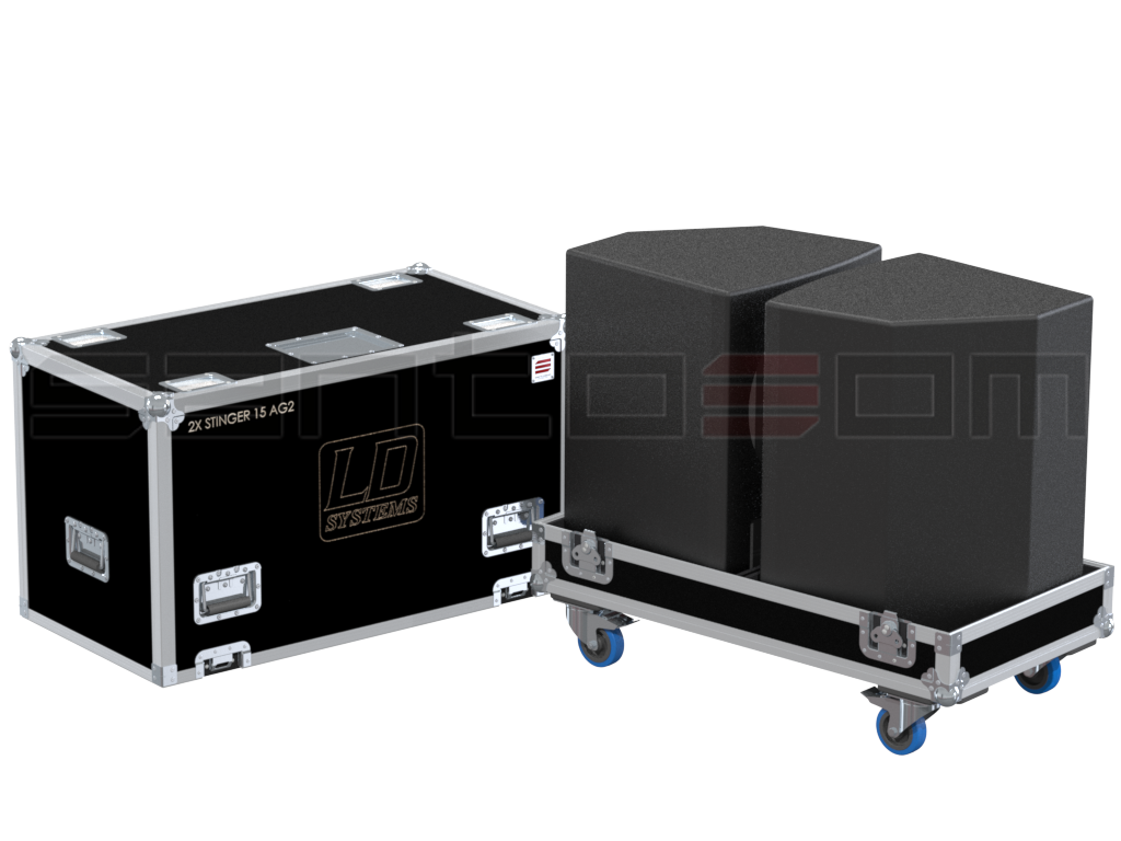 Santosom   Flight case, 2x LD Systems Stinger 15AG2
