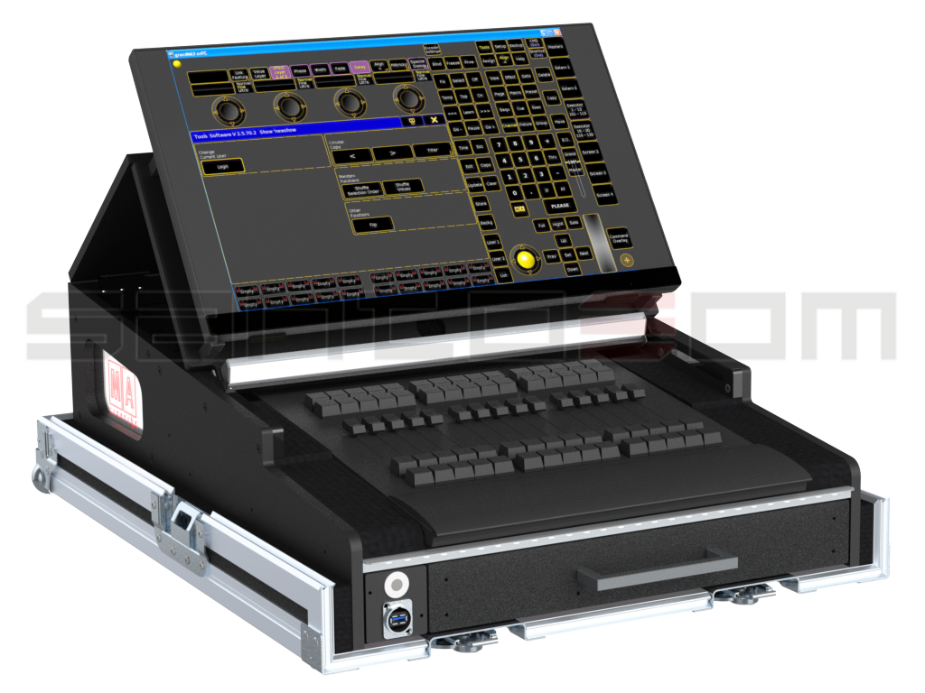 Santosom Lighting controller PRO-3 Flight case PRO-5, GrandMA2 OnPc Fader Wing