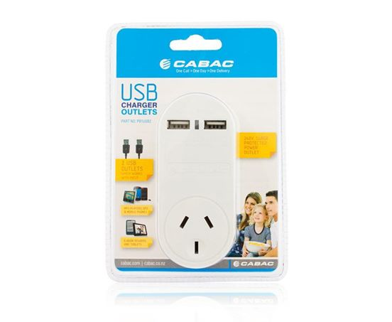 CABAC POWER OUTLET 240V WITH 2X USB OUTLETS