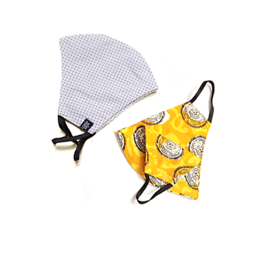 Washable Face Mask White Dots & Yellow Circle 2pack