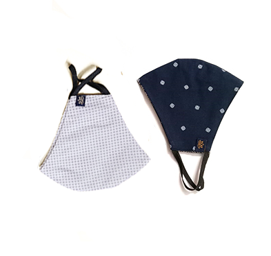 Washable  Reusable  Adult  Teen Unisex Face Mask Navy & grey polka 2pack