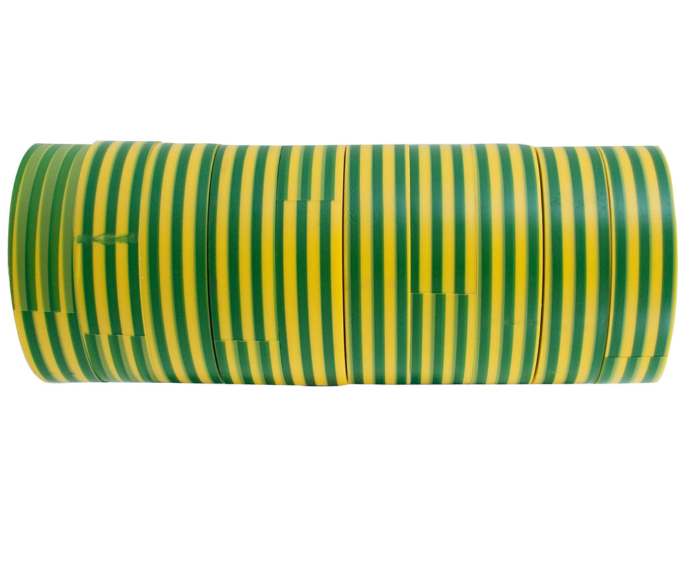 CABAC INSULATION TAPE YELLOW GREEN PACK OF 10 ROLLS