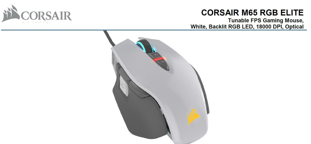 Corsair-M65-RGB-ELITE-Tunable-FPS-Gaming-Mouse-White-with-Black,-18000-DPI,-Optical,-iCUE-Software.