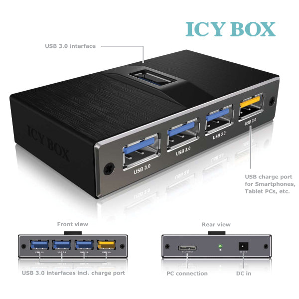 ICY BOX 4 Port USB 3.0 hub with USB charge port (IB-AC611)