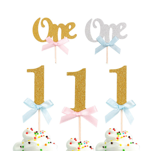 First Birthday Cupcake Topper Party Decorations