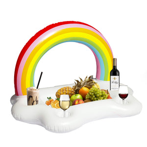 91cm Inflatable Rainbow Pool Drink Holder Float Toys
