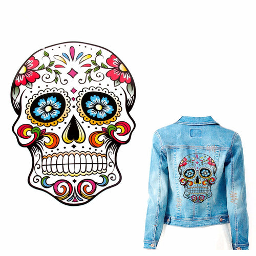 Halloween Skull Embroidered Applique Patches