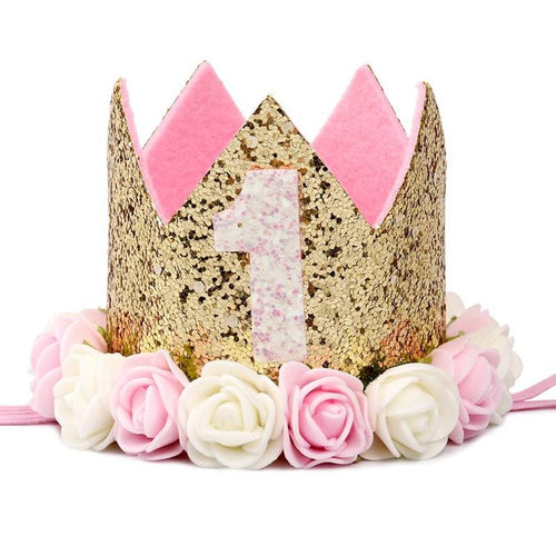 Princess Crown 1st 2nd 3rd First Birthday Party Hats