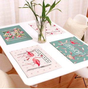 Flamingo Decor Linen Table Pad Placemat Cotton Table Mat