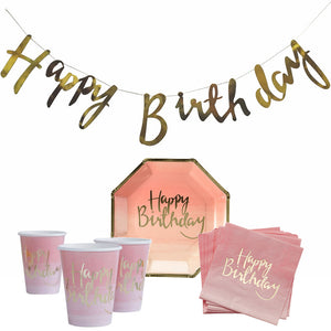 Pink Theme Birthday Party Paper Tableware