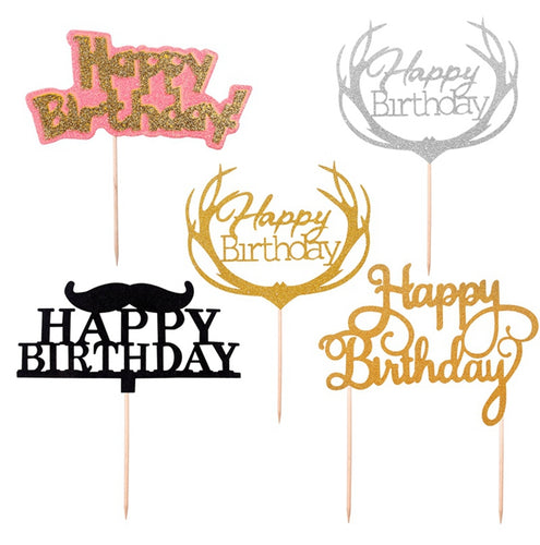 Happy Birthday Cake Supplies Gold Glitter Cupcake Toppers