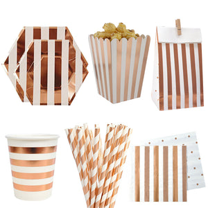 Rose Gold Birthday Party Paper Disposable Tableware