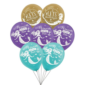Mermaids Ballons Happy Birthday Decoration Kids Party Supplies