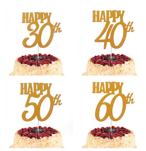 30th 40th 50th 60th Gold Birthday Cake Topper Decoration