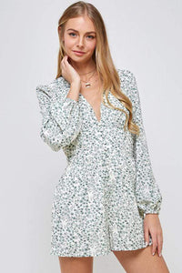 SUMMER ESCAPE FLORAL PLAYSUIT IN IVORY