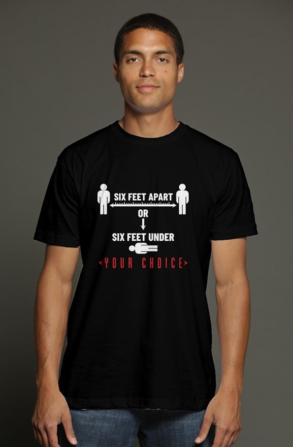 Men's t shirt - Six feet apart black/red