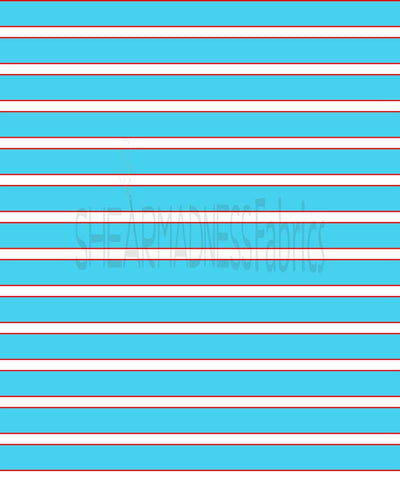 Aqua/Red Stripes