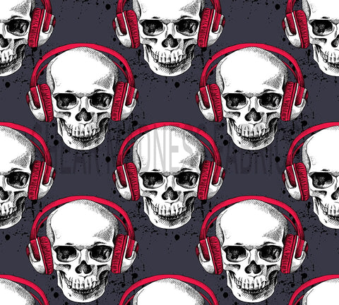 Red  Headphone Skulls              *3 Sizes Available