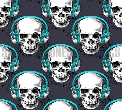 Teal Headphone Skulls                      **3 Sizes Available