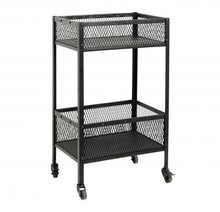 Trolley, black iron, 2 baskets, small