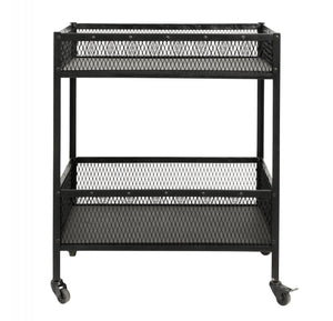 Trolley, black iron, 2 baskets, large