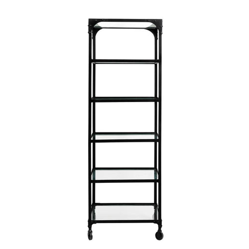 Iron rack w/wheels, glass shelves, black