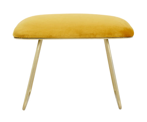 Warm yellow stool, golden legs, iron