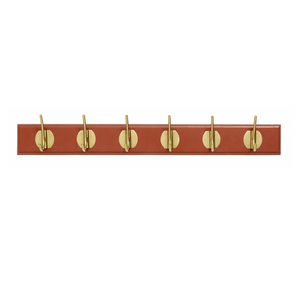 Coat Rack, 6 Brass Hooks Matt Terracotta