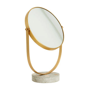 Makeup table mirror, golden/terrazzo